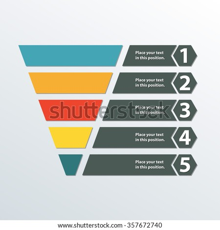 Funnel symbol. Marketing and sales template. Business infographic design element. Colorful vector illustration. - stock vector