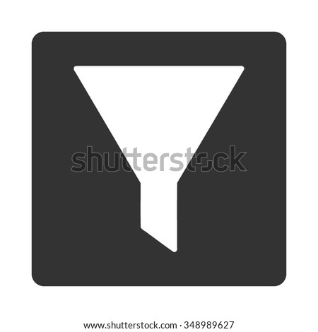 Funnel vector icon. Style is flat rounded square button, white and gray colors, white background.