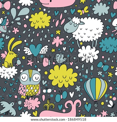 Funniest seamless pattern with animals and birds in the night sky. Cute whale, fairy, sheep, owl, birds, rabbit and butterflies, air-balloon  in clouds - stock vector