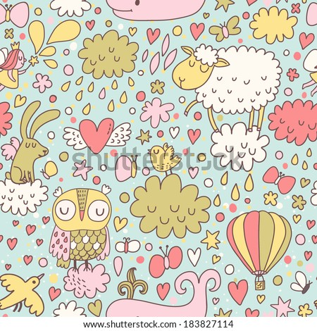 Funniest seamless pattern with animals and birds in the sky. Cute whale, sheep, owl, birds, rabbit and butterflies in clouds - stock vector
