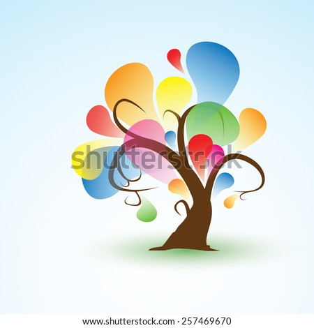 Funny Abstract spring Tree Sticker Wall Decal for your design - stock vector