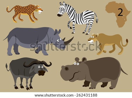 Funny african animals. Vector illustration