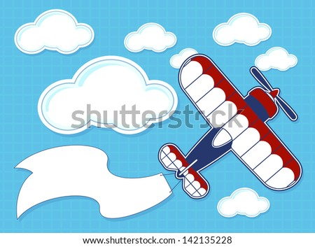 funny airplane cartoon with blank banner on blue background and clouds - stock vector