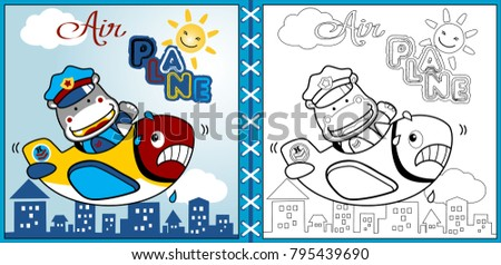 Funny Airplane With Heavy Pilot Coloring Page Or Book