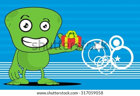 funny alien cartoon background in vector format very easy to edit