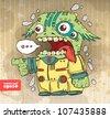 funny alien invader. vector illustration - stock vector