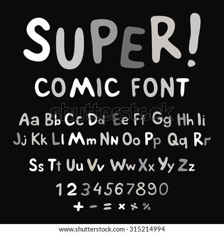Funny alphabet isolated cute illustration cartoon font symbol abc - stock vector