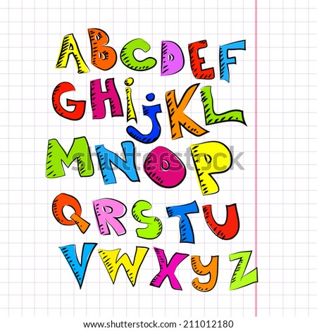Funny alphabet on a piece of paper in a cage. Vector - stock vector