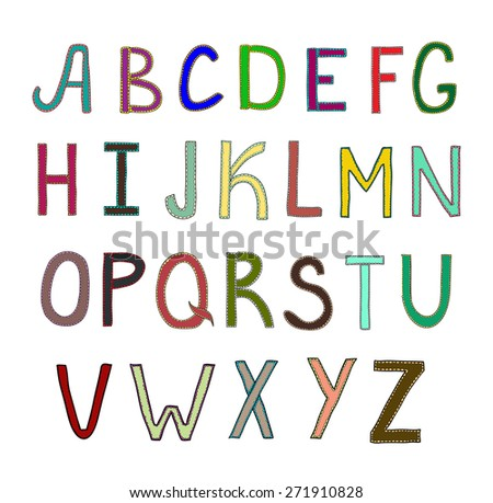 Funny alphabet on a white background. Vector illustration