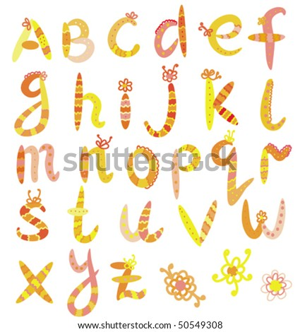 Funny alphabet set in bright colors - stock vector