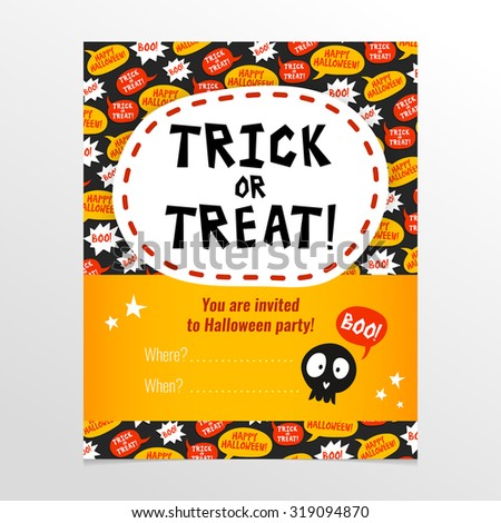 Funny and bright vector Halloween party invitation card with Trick or Treat banner and cute skull - stock vector