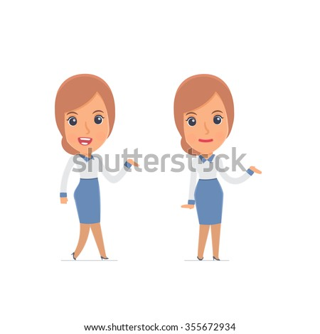 Funny and Cheerful Character Consultant Girl making presentation using his hand. for use in presentations, etc. - stock vector