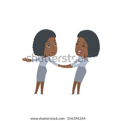 Funny and Cheerful Character Social Worker drags his friend to show him something. Poses for interaction with other characters from this series - stock vector