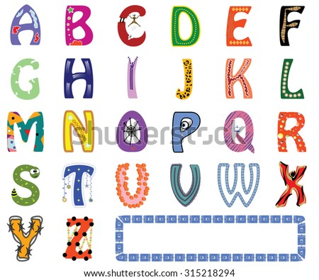 Funny and colorful letter set of English alphabet with different cartoons, shapes, ornaments, font styles for preschool children - Vector and illustration - stock vector