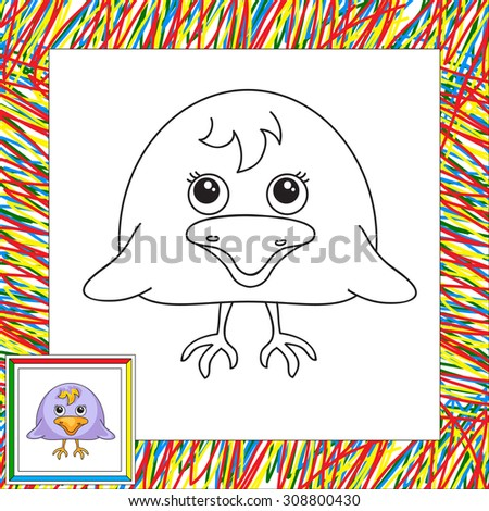 Funny and cute crow. Vector illustration for children. Coloring book for kids - stock vector