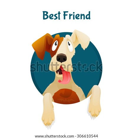 Funny and cute dog looking up from the hole with text. Concept of best friend, adoption, vet or dog lover. You can change color of coat and background. Vector illustration - stock vector