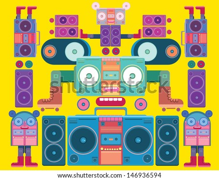 funny and cute vector boombox face pattern wallpaper - stock vector