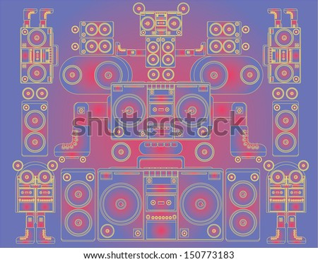 Funny And Cute Vector Ghetto Blaster Face Pattern Wallpaper On Vibrant Gradient Colors