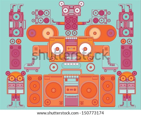 funny and cute vector ghetto blaster face pattern wallpaper with orange chracters - stock vector