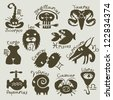 funny and scary signs of the zodiac - stock vector