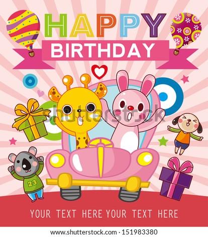 funny animal birthday card - stock vector