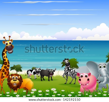 funny animal cartoon collection with beach background - stock vector