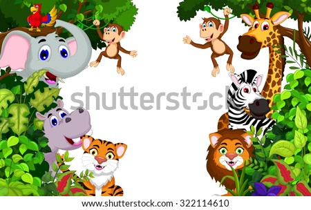 funny animal cartoon with forest background - stock vector
