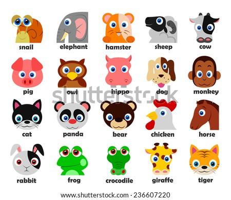 Funny Animal heads set Vector illustration - stock vector