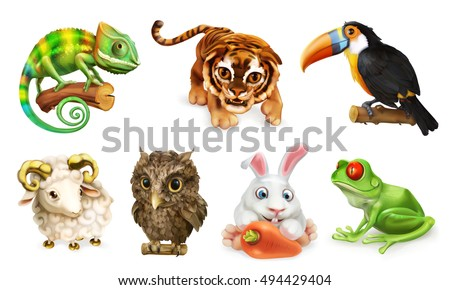 Funny animal set. Cartoon character 3d vector icon