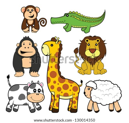 funny animal set: lion,girafe,cow,goat.monkey,gorila&crocodile - stock vector