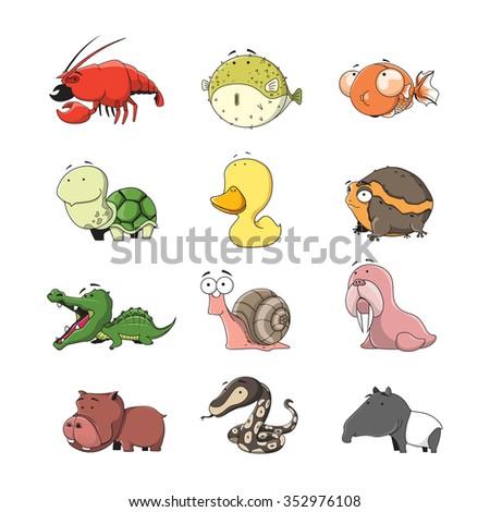 Funny Animal Vector illustration Icon Set  - stock vector