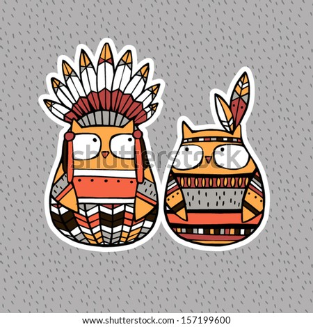 Funny animals: American Indian Owl - stock vector