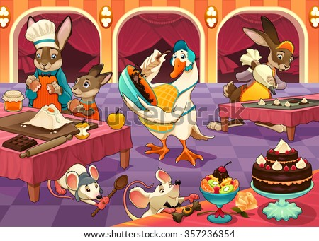 Funny animals are cooking cakes and cookies. Vector cartoon illustration - stock vector