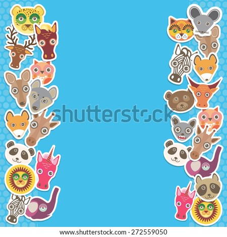 Funny Animals card template. blue background, template for your design. Vector - stock vector