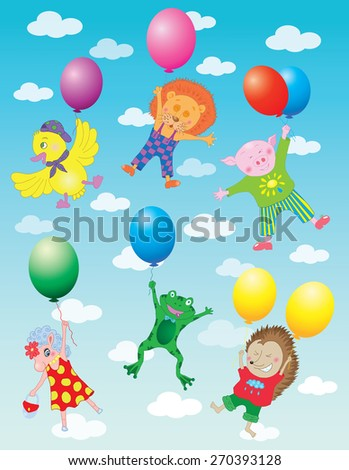 Funny animals flying on colorful balloons in sky with clouds, hand drawn illustration - stock vector