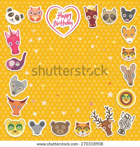 Funny Animals Happy birthday. orange Polka dot background. Vector - stock vector