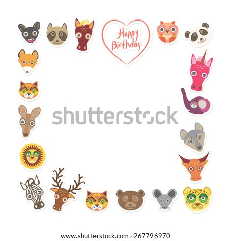 Funny Animals Happy birthday. pink heart on White background. Vector - stock vector