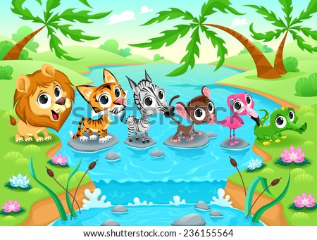 Funny animals in the jungle. Cartoon vector illustration. - stock vector