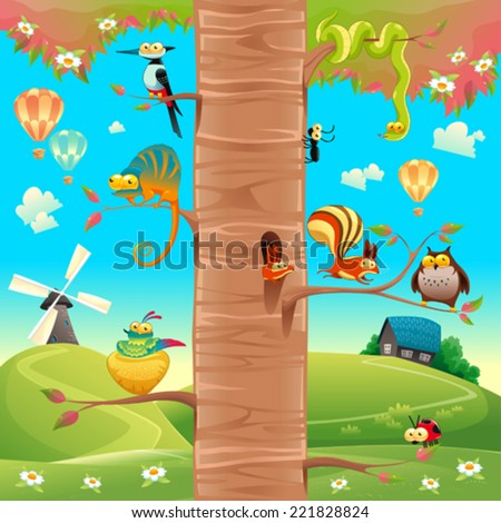 Funny animals on branches. Cartoon and vector scene, isolated objects.  - stock vector