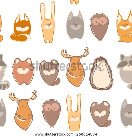 Funny animals. Seamless background with animals - stock vector
