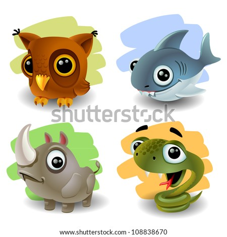 funny animals-set 2 - stock vector