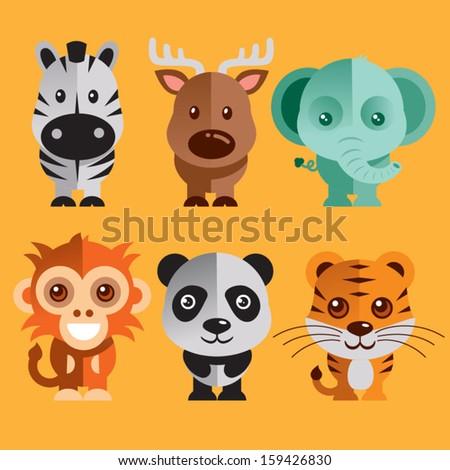 Funny Animals vector illustration - stock vector