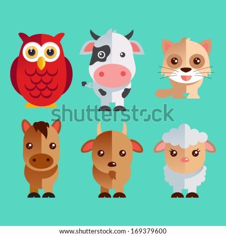 Funny Animals vector illustration set - stock vector