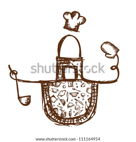 Funny apron with kitchen utensils sketch for your design - stock vector