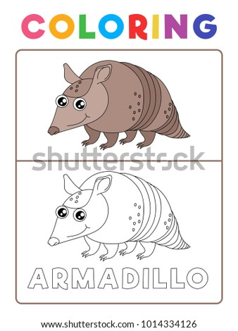 Funny Armadillo Animal Coloring Book With Example Preschool Worksheet For Practicing Fine Colors Recognition Skill