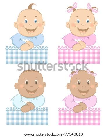 Funny Babies Boy Girl Pattern Blue Stock Vector 97340810 Shutterstock