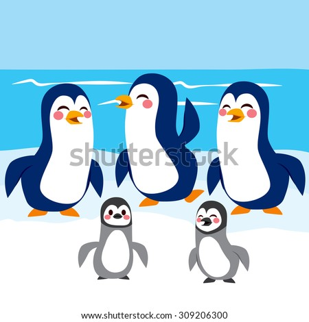 Funny baby and adult penguins happy together in Antarctic iceberg - stock vector