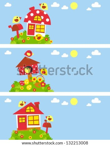 funny baby banners with birds and houses - stock vector