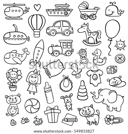 funny baby icons. vector doodle collection of hand drawn icons for baby shower