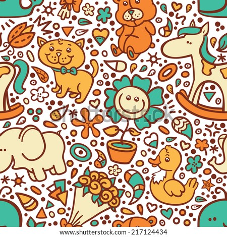 funny baby pattern. vector doodle seamless pattern for baby shower - stock vector